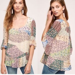 Anthropologie Floreat Floral Patchwork Blouse